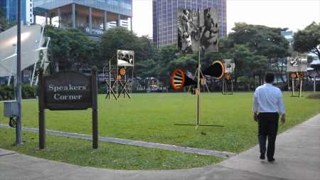 Orators, Rostrums, and Propaganda Stands, by John Craig Freeman, augmented reality public art, Singapore, 2013.