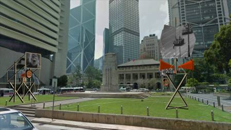 Orators, Rostrums, and Propaganda Stands, by John Craig Freeman, augmented reality public art, Hong Kong, 2013.